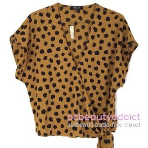 Madewell Painted Spots Leopard V-Neck Sash Top - L